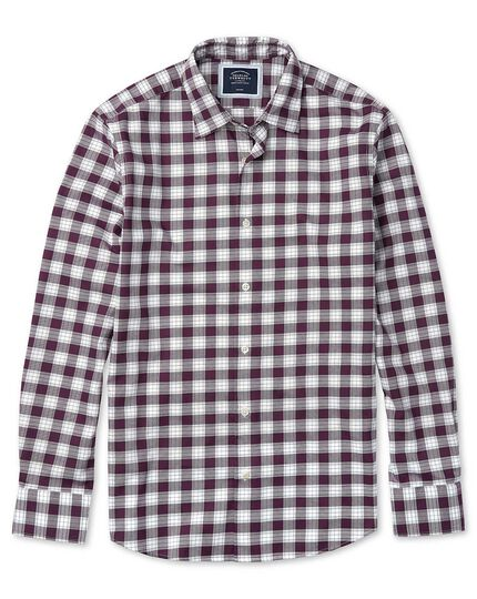 Extra slim fit berry and white check soft wash non-iron stretch Oxford shirt