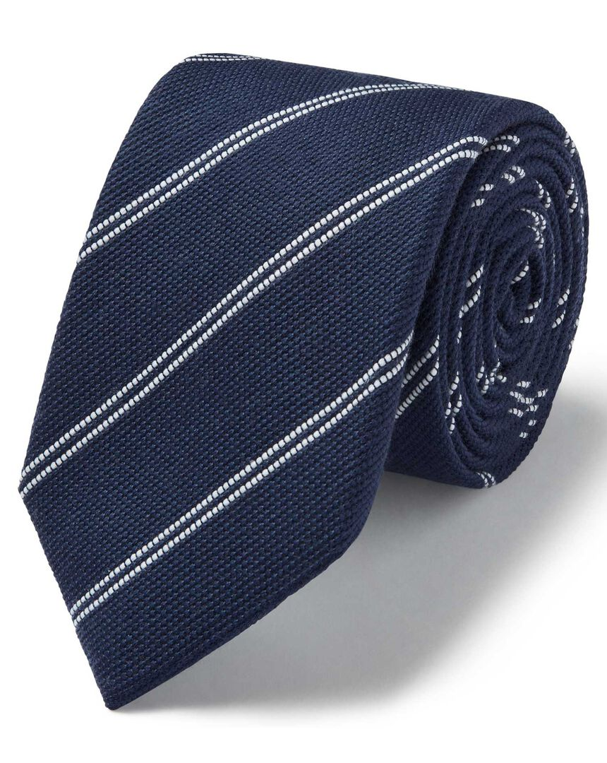 Navy and white wool silk fine stripe classic tie