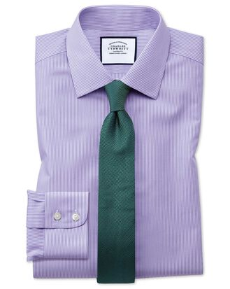 Slim fit non-iron Bengal stripe lilac shirt