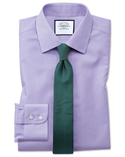 Slim fit non-iron lilac Bengal stripe shirt