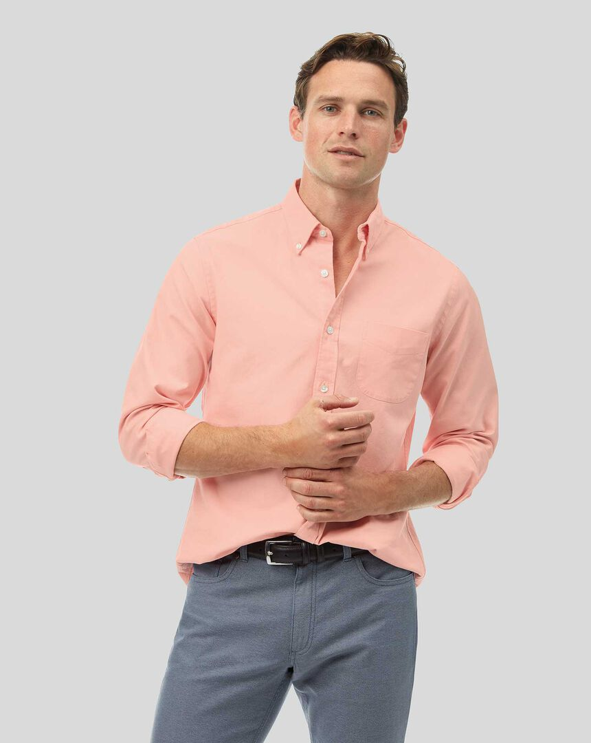 Button-Down Collar Washed Oxford Shirt - Coral