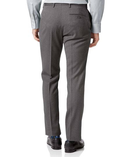 Light grey slim fit herringbone business suit Pants