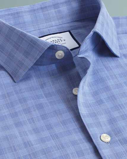 Business Casual Egyptian Cotton Slub Check Shirt - Sky Blue