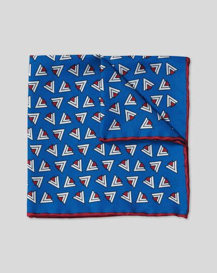 Retro Triangle Print Pocket Square - Royal Blue & Red
