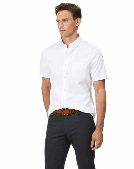 Slim fit white short sleeve button-down washed Oxford plain shirt