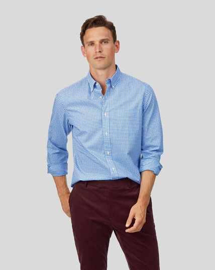 Chemise popeline stretch douce délavée à carreaux et col boutonné - Bleu ciel