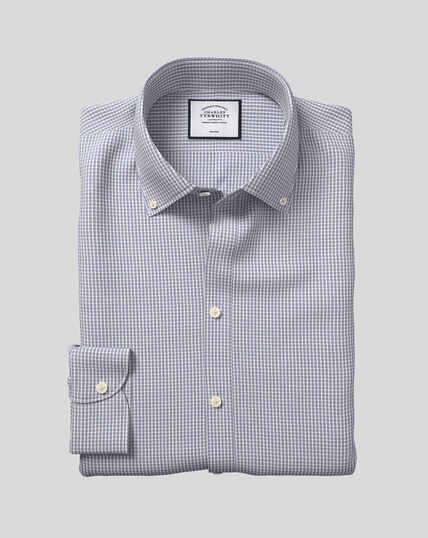 Bügelfreies Hemd mit Button-down-Kragen und Karos - Grau & Blau