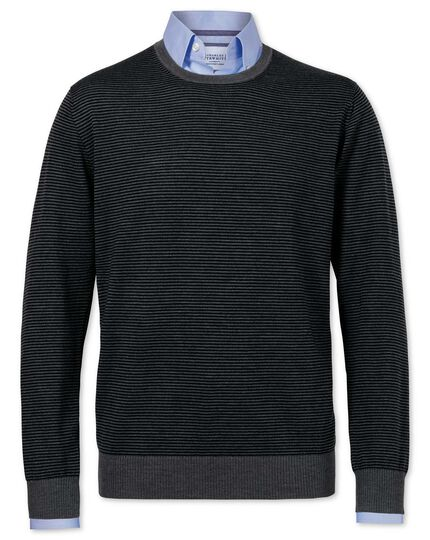 Black and grey merino wool crew neck sweater