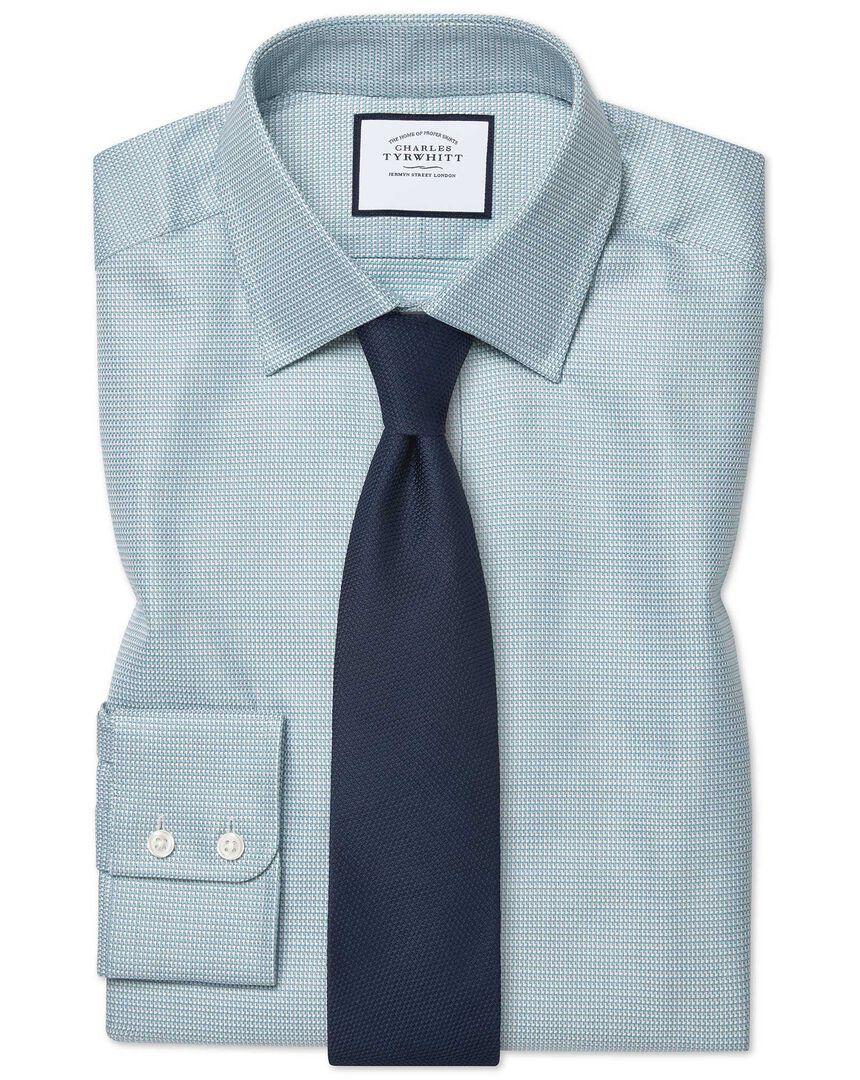 Slim fit Egyptian cotton chevron teal shirt