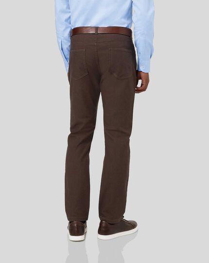 Diamond Dobby 5-Pocket Trousers - Chocolate
