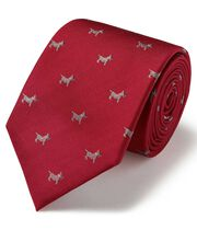 Red silk motif jacquard Scottie dog classic tie