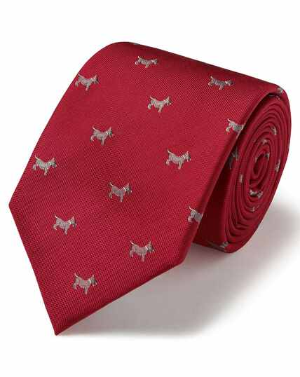 Red silk motif jacquard dog classic tie