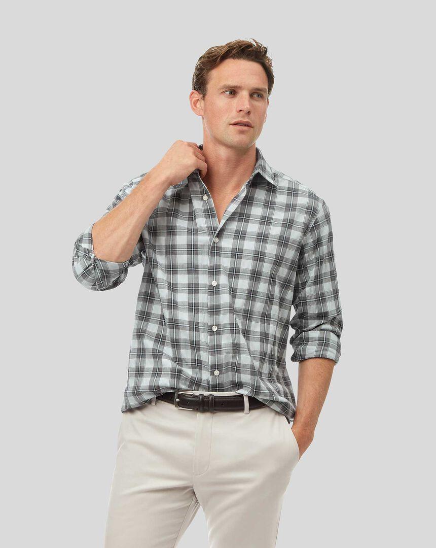 Knitterhemd mit Kent Kragen und Karos - Grau