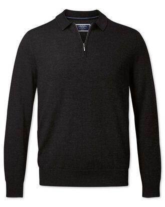 Dark charcoal merino zip polo collar sweater