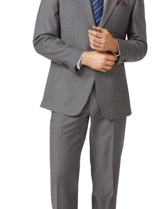Grey classic fit twill business suit