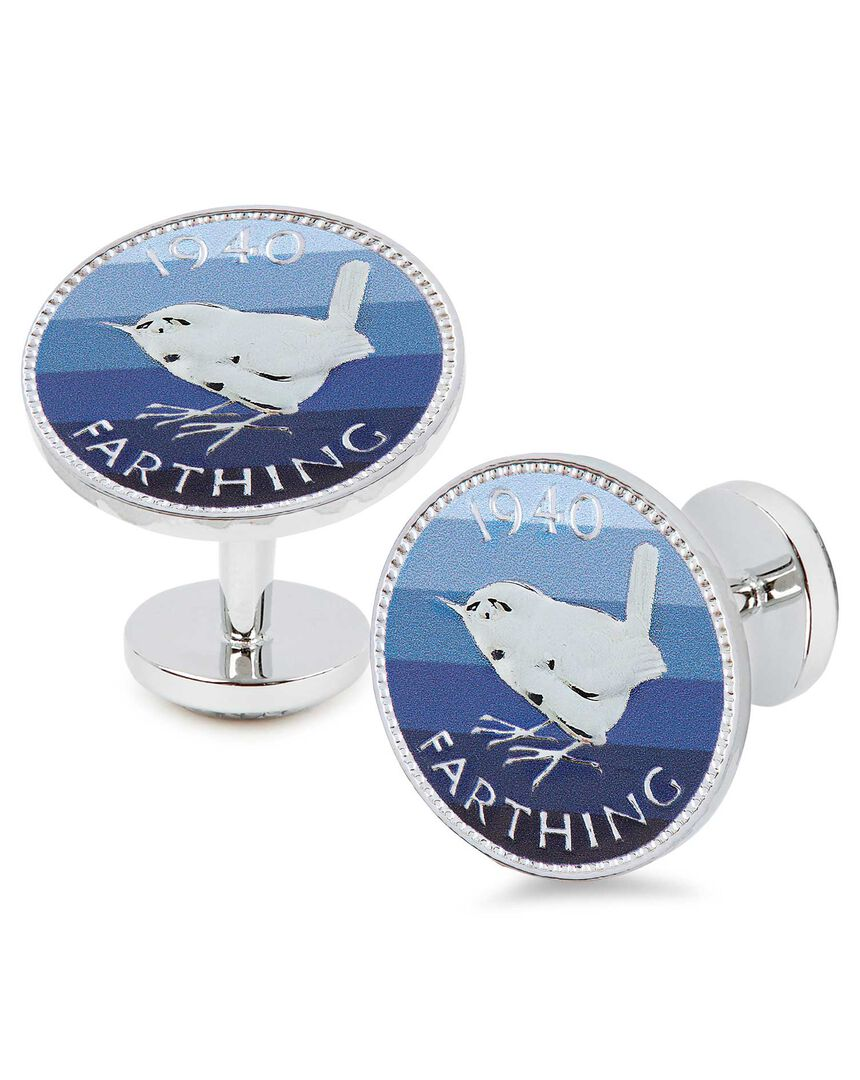 Blue printed striped farthing coin cufflinks