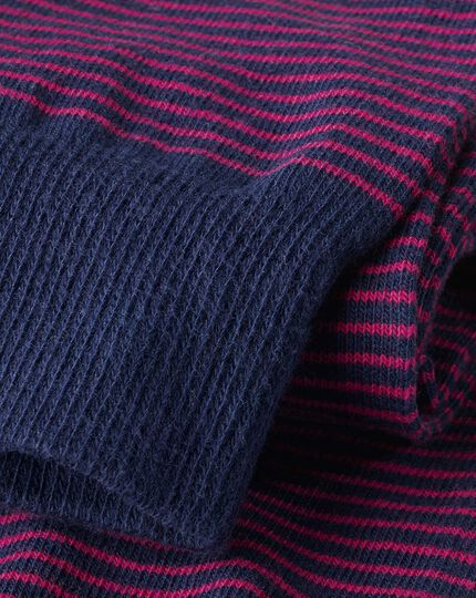 Fine Stripe Socks - Pink & Navy
