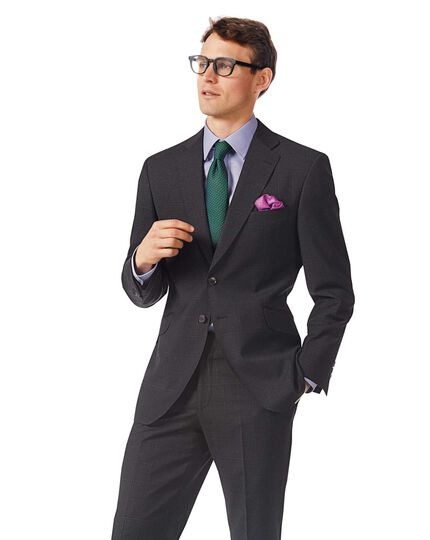 Grey check classic fit Italian suit jacket