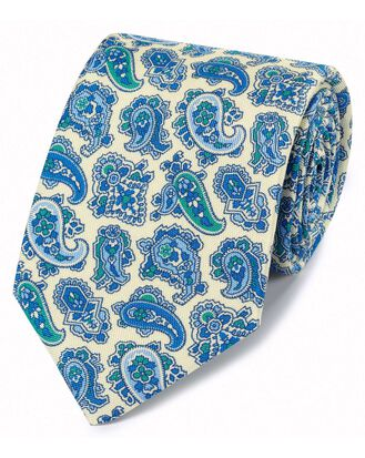 Cravate bleue et blanche en luxueuse soie anglaise avec imprimé cachemire