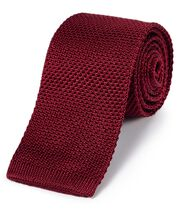 Red silk slim knitted classic tie