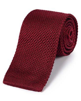 Schmale klassische Strickkrawatte aus Seide in Rot