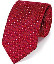 Red silk geometric English luxury tie