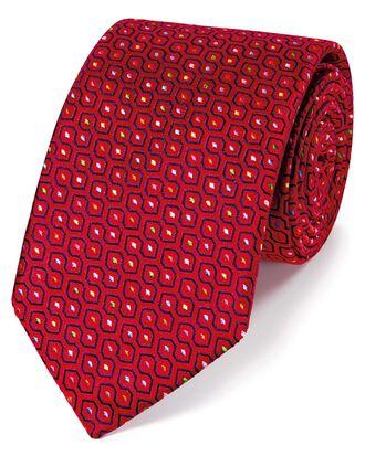 Englische Luxuskrawatte aus Seide mit geometrischem Muster in Rot