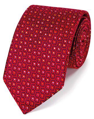 Cravate de luxe rouge en soie anglaise à imprimé géométrique