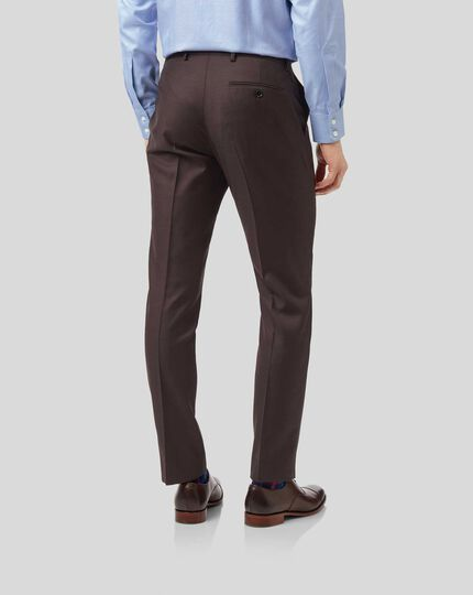 Twill Business Suit Trousers - Brown