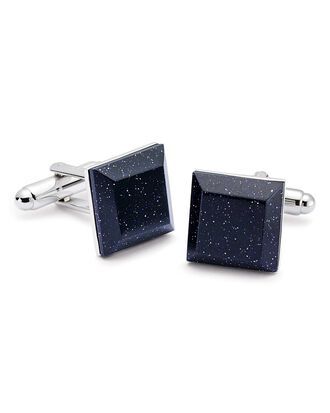 Blue gold stone evening cufflinks