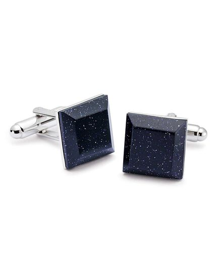 Blue gold stone evening cufflinks
