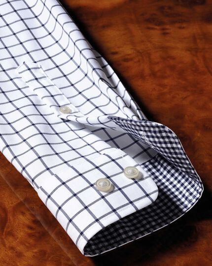 Bügelfreies Extra Slim Fit Oxfordhemd in Marineblau mit Windowpane-Karo