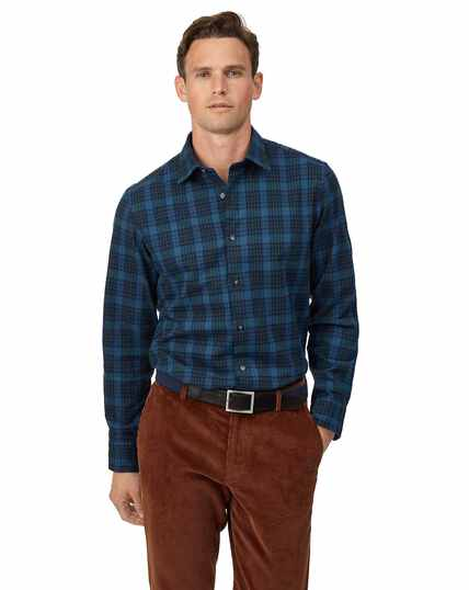 Slim fit blue multi check winter flannel shirt