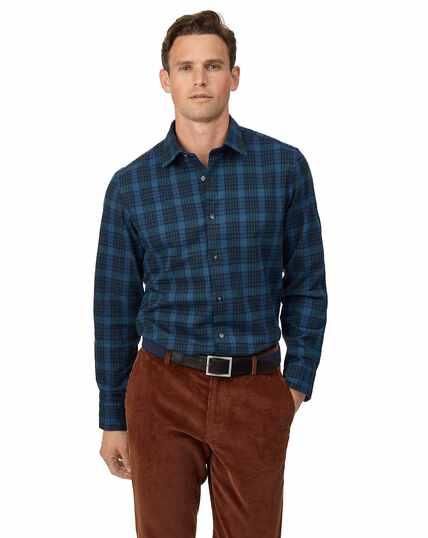 Chemise en flanelle d'hiver à carreaux écossais - Bleu