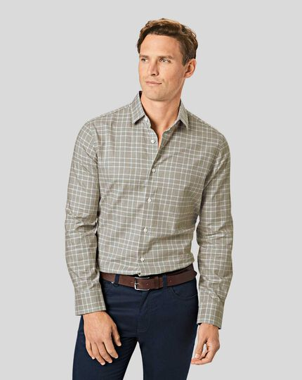Lightweight Flannel Prince of Wales Check Shirt - Olive