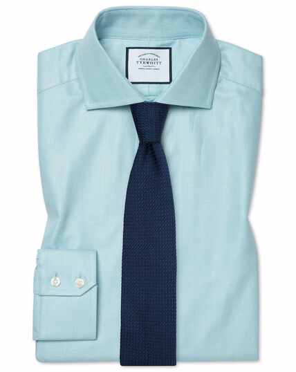 Extra slim fit cutaway cotton stretch with TENCEL™ teal shirt