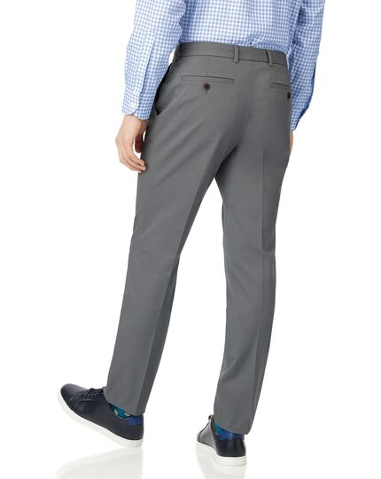Grey single pleat non-iron chinos