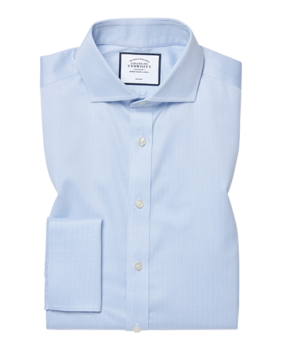 Slim fit spread collar non-iron puppytooth sky blue shirt