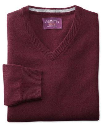 Wine cashmere v-neck jumper