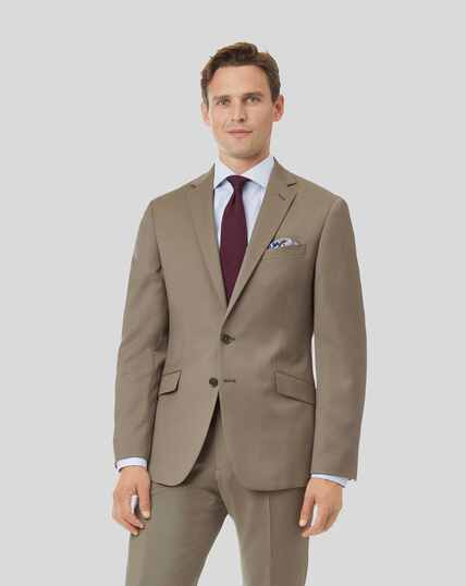 Natural Stretch Italian Suit Jacket - Stone