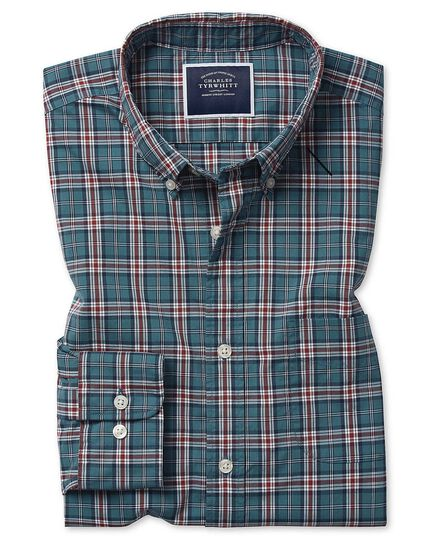 Classic fit teal check soft washed stretch poplin shirt