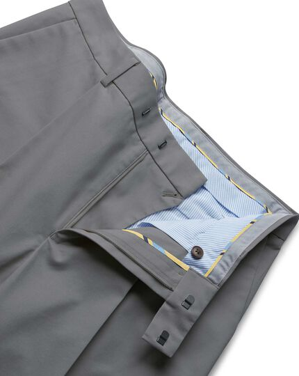 Grey single pleat non-iron chinos