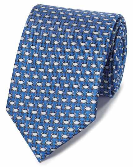 Blue crab print classic tie