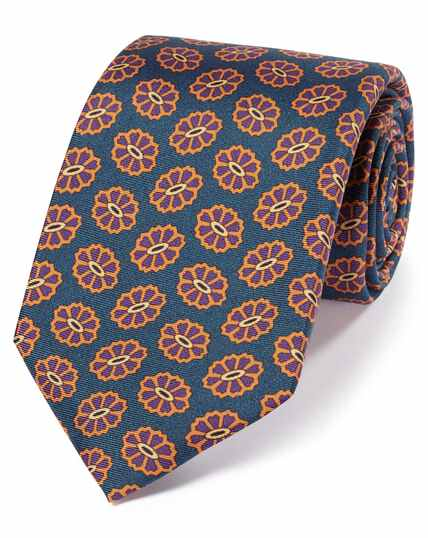 Teal silk medallion print English 7-fold luxury tie