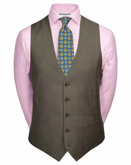 Olive adjustable fit twill business suit vests