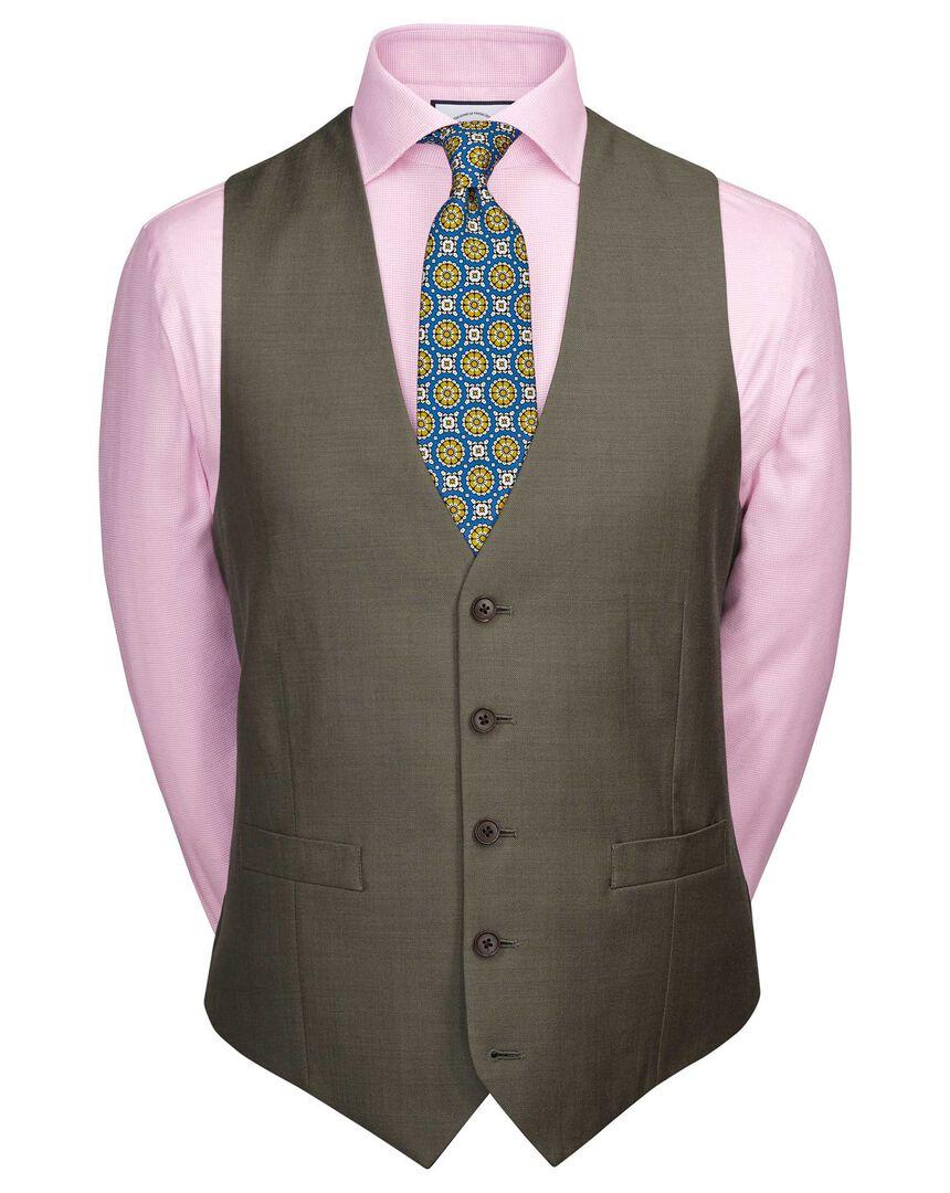 Olive adjustable fit twill business suit vest