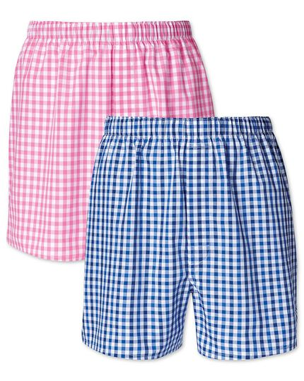 Pink and blue gingham 2 pack boxers