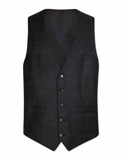 Grey check adjustable fit birdseye travel suit waistcoat