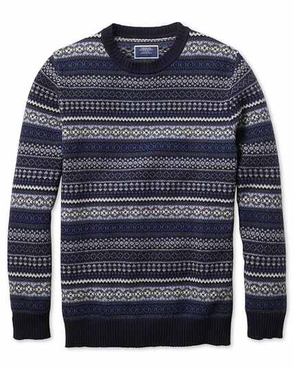 Navy and blue crew neck Fair Isle sweater