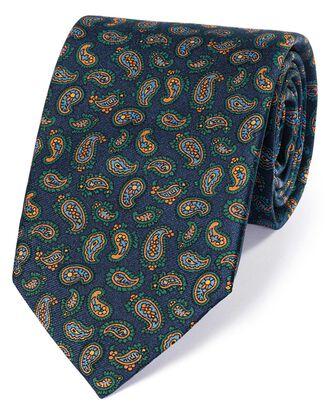 Luxuriöse englische Seidenkrawatte in Marineblau und Gold mit Paisley Muster